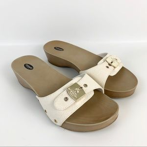 Dr Scholls Wooden Rubber Classic Slide Sandals